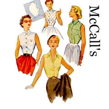50s Vintage Sleeveless Blouses Tops Pattern Slim Button Front - Collar or Neck Tie Style McCalls 9028 Sewing Patterns Size 12 Bust 30