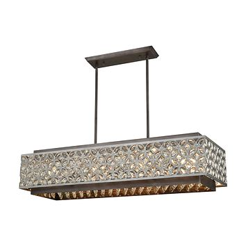 Rosslyn 8-Light Linear Chandelier in Weathered Zinc and Matte Silver with Crystal and Metalwork