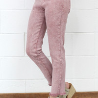Washed + Frayed Hem Stretch Jeans {Red Clay}