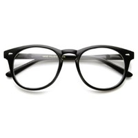 zeroUV - Classic Round P3 Horn Rimmed Style Clear Lens Eye Glasses (Shiny Black)