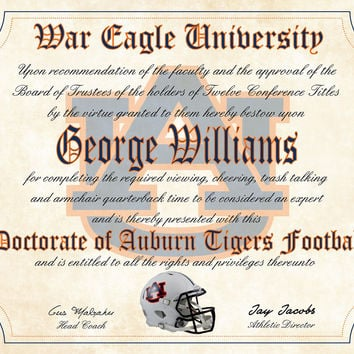 """Auburn University Ultimate Football Fan Personalized Diploma - Perfect Gift -8.5"""" x 11"""" Parchment Paper"""