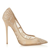 Nude Lace Pointy Toe Pumps | Anouk | Pre Fall 15 | JIMMY CHOO Shoes