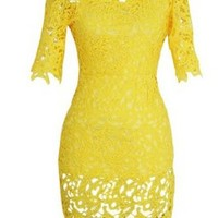 Women's Hollow Lace Embroidery Short Sleeve Mini Yellow Dress (S, Yellow)