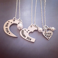 Big, Middle, Little Sister 3 Piece Set Personalized Necklace Set Hand Stamped Jewelry - Big Sis, Middle Sis and Little Sis Sister Set 3 pieces - Hand Stamped Necklace Set