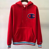 Champion Tide brand big C letter embroidery head hoodie Red