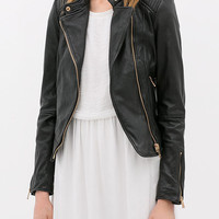 Stand Collar Zipper Detail Leather Jacket