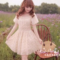 [Free Shipping] Puff-Sleeve Frilled Lace Dress RF815