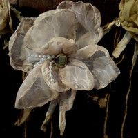 Large Fabric Flowers~Hand Dyed Open Flower~Chiffon~Jewels~Pearls~Rustic Wedding Decorations~Shabby Chic Wedding Bouquet