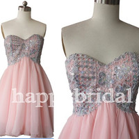 Short Pink Lovely Sweetheart Beaded Prom Dresses Party Dresses Homecoming Dresses Bridesmaid Dresses 2014 New Fashion