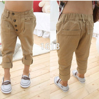 baby kids boys retro clothes khaki casual pants straight trousers 2~7 Years children capris TIML66