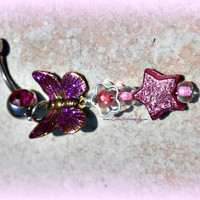Pink Butterfly Belly Ring, Beach jewelry, Hiptser, Boho, Hippie, Direct checkout