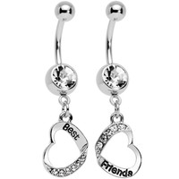 Clear Gem Best and Friends Matching Heart Dangle Belly Ring Set | Body Candy Body Jewelry