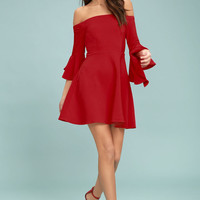 J.O.A. Mikkaa Red Off-the-Shoulder Skater Dress