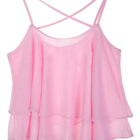 ROMWE Straps Flouncing Pleated Pink Vest