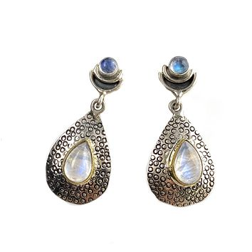 Moonstone Two Tone Sterling Silver Moonstruck Earrings