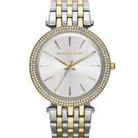Mid-Size Two-Tone Stainless Steel Darcy Three-Hand Glitz Watch - Michael Kors