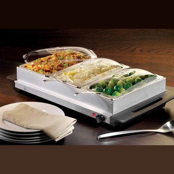 Nostalgia BCD992 Living Collection Large 3-Station Buffet Server and Warming Tray