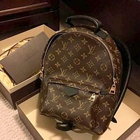 LV tide brand men and women classic old flower color matching backpack