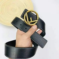 FENDI Popular Women Men Stylish F Letter Smooth Buckle Leather Belt