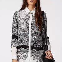 Black And White Paisley Floral Print Long-Sleeve Button Shirt