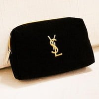 YSL New fashion embroidery letter velvet couple clutch cosmetic bag Black