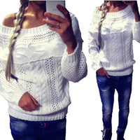 Women Pullover Slash Neck Long Sleeve Warm Hemp Flowers Knit Sweater