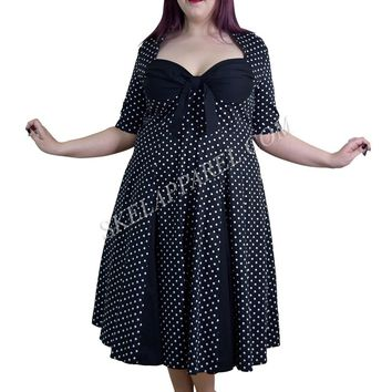 Plus Size 50's Retro Design Polka Dot Party Swing Dress