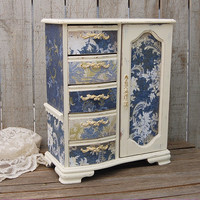 Ivory & blue jewelry armoire