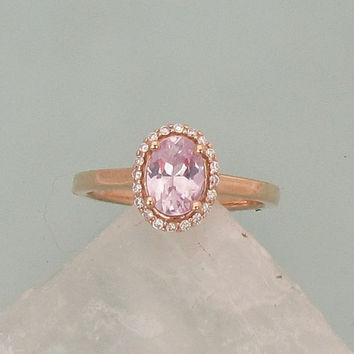 Orchid Pink Champagne Sapphire 14k Rose Gold Diamond Halo Engagement Ring Weddings Anniversary