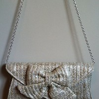 Monogrammed Metallic Molly Clutch with Bow