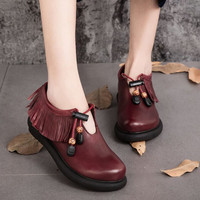 Women's Fashion Handmade Folk style Leather Flat Shoes With Tassel Pendant,Retro Flat Shoes For Women, Wine Red Casual Shoes  designer shoes