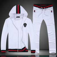 GUCCI 2018 autumn and winter new hooded cardigan jacket casual sportswear two-piece white