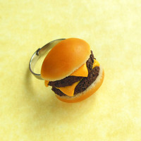 polymer clay double cheeseburger ring by ScrumptiousDoodle on Etsy