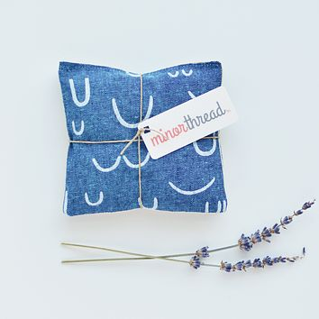 Organic Lavender Sachets in Peacock Blue Shapes and Natural Linen Set of 2
