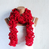 Ruffled Scarf in Red, SCARVES, Knit Scarf Red, Gift For Her, Holiday Scarf Sale, Woman Scarves, Scarf for Teens, Adults, Winter Accessories