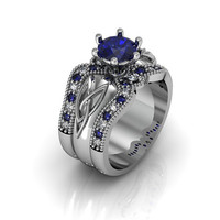 Celtic Ring:  Created Sapphire Sterling Silver Celtic Knot  Love and Friendship Engagement and Promise Solitaire Ring Trio Set