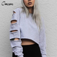 Sexy Short Sweatshirt Long Sleeve Holes Hollow Out Loose Polerones Mujer Midriff Women Fashion Sweatershirt Crop Tops QA1335