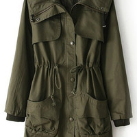 ROMWE | Hooded Drawstring Army-green Trench Coat, The Latest Street Fashion