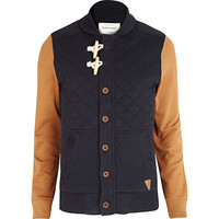 River Island MensNavy contrast sleeve quilted sweat jacket