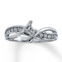 Diamond Promise Ring 1/4 ct tw Princess-Cut 10K White Gold