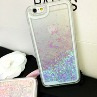Iridescent Dynamic Liquid Heart Glitter Phone Case Cover For iPhone 5/5s 6/6S 6 Plus