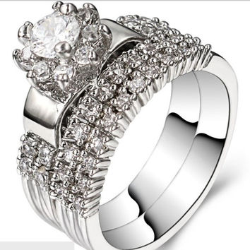 Bridal Wedding Ring Set Two in one Size 6 7 8