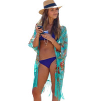2015 Summer Women Fashion Beach Cover Up Ladies Sexy Swimsuit Bathing Suit Cover Ups Kaftan Kimono Beach Wear