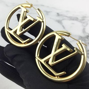 LV Louis Vuitton New fashion  letter round  circle earring jewelry Golden