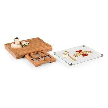 Iowa State Cyclones - Concerto Glass Top Cheese Cutting Board & Tools Set, (Bamboo)