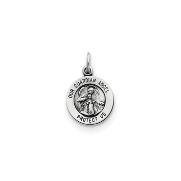 925 Sterling Silver Guardian Angel Medal Charm Pendant - 17mm
