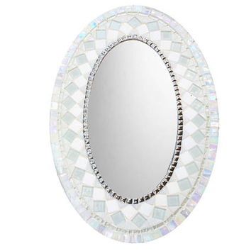 White Wall Mirror, Mosaic Mirror, Oval Mirror,