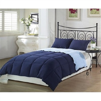 Queen 3-Piece Reversible Comforter Set in Navy and Light Blue