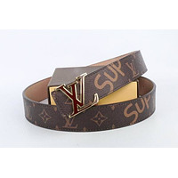 Louis Vuitton Woman Men Fashion Smooth Buckle Belt Leather Belt Skin Belts LV Beltt024
