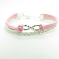 Pink Braided Rope and White Braided Leather Steampunk Bracelet Antique Silver Karma Bracelet,infini